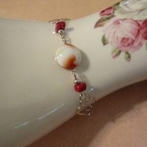 Jewelry - Dainty Silver Tone Wire Red Bracelet